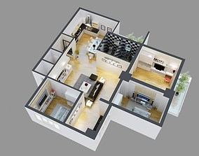 3D Model Detailed House Cutaway View 4