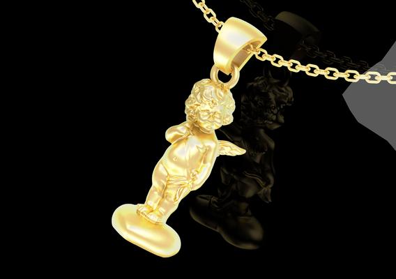 Angel on the heart V1 Pendant jewelry Gold 3D print model