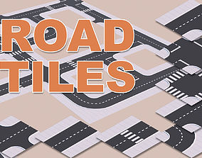 Low Poly Road Tiles 3D asset
