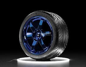 3D asset Car wheel Maxxis Victra tire with RAYS Volk SAGA