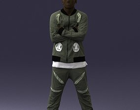 Dark-skinned man in a tracksuit 0349 3D Print Ready