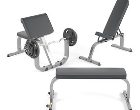 Gym benches from BodySolid 3D