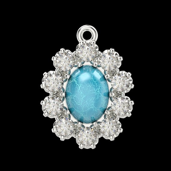 Women's pendant with cabochon and gems  CAD vintage 3D print model