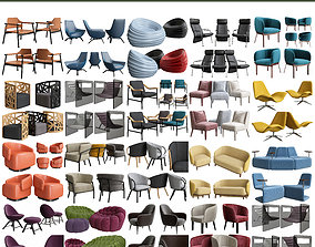 Collection of Chairs and armchairs 3d model 19 low-poly