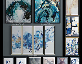 The collection of contemporary paintings set studio 3D