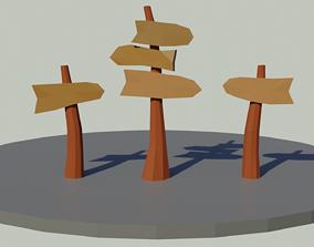 Low Poly Signpost 3D
