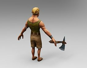 Woodcutter 3d model game lowpoly VR / AR ready