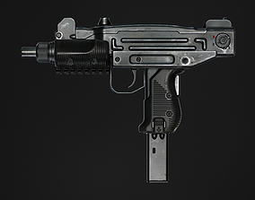 3D model low-poly Mini Uzi - Game Ready PBR Asset