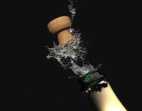 3D model Opening Champagne Bottle - Cork