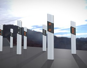 Roadside posts low-poly 3D asset game-ready