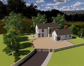 3D model Modern house and landscape