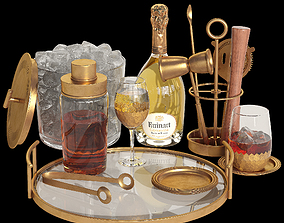 3D model Potterybarn gold cocktail set