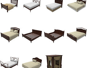 Bed collection 3D asset game-ready