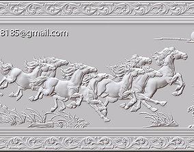 3D printable model Mural Horse wood carving file stl OBJ 3