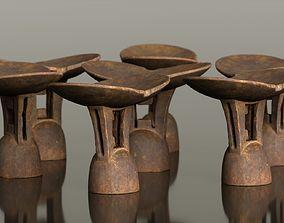 3D model Headrest Africa Wood Furniture Prop 8