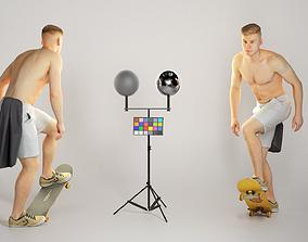 3D asset Shirtless man riding on a skateboard