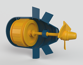 Hydroelectric power station engine 3D