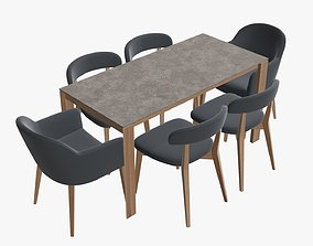 3D model Dining table with chairs and armchairs