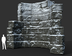 3D model Low poly Snow Ruin Medieval Construction 11