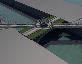 A bridge 3D model rigged