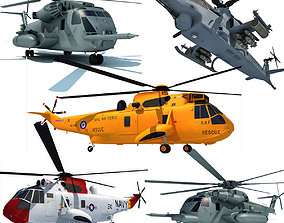 usa 3D Military Helicopter Model set of 5