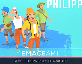 PHILIPP Stylized modular low poly character 3D model