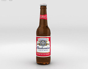 pint Budweiser Beer Bottle 3D model