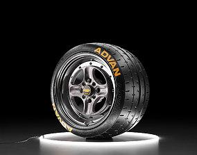 3D model Car wheel Yokohama A052 tire with WORK EQUIP 40