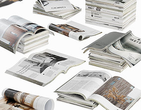 room 3D model Opened magazines stack set