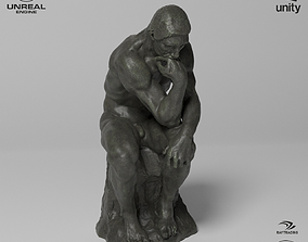 The Thinker Sculpture VR AR Mobile-ready 3D model