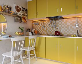 3D Lumion Skills by Chuck - Yellow Kitchen settings