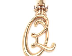 Alphabet Initial pendant letter Q 3D printable model
