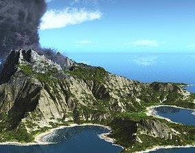 Volcano island in Vue 3D model