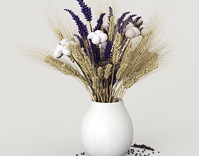 3D Dried flowers of cotton rye and lavender