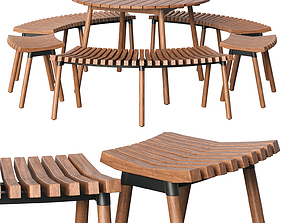 3D model wood Garden table and chair IKEA