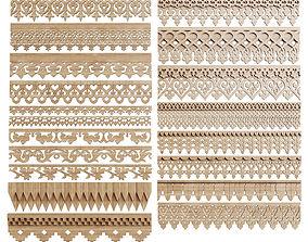 3D A set of carved trim friezes