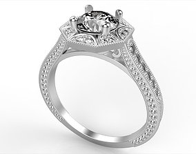 Vintage Inspired Engagement Ring 3D printable model
