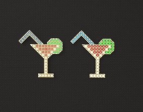 1980s style Cocktail Pendant Pin Badge 3D printable model