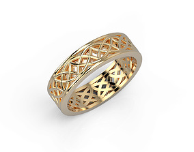 3D print model 140305R engagement ring with patterns Pol
