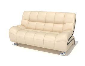 3D model Cream Color Sofa With Steel Legs