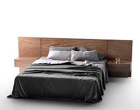 Queen Bed 3D model contemporary