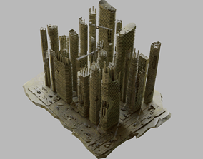 Ruined City Destroyed Cityscape Pack 3D model