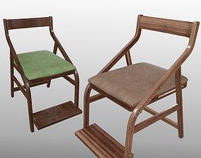Japanese Adjustable Wood Chair PBR 3D asset