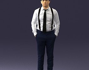 Guy in trousers with suspenders 0380 3D Print Ready