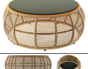 TAMARIN Round Resin Wicker and Grey Glass 3D model 2