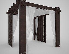 Wooden Gazebo Wenge Color 3D