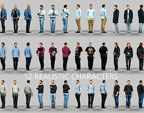 3D 12 Realistic Male Characters