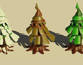 3D model pine winter summer spring autumn