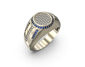 Men Ring with Blue stones 3D print model