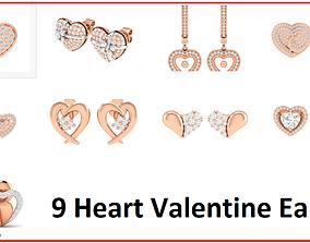 9 Women Heart Earrings 3dm stl render detail